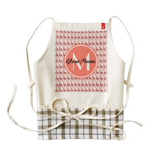 Monogrammed Pink Salmon Deer, Personalized Name Zazzle HEART Apron
