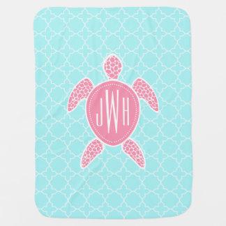 Monogrammed Pink Sea Turtle + Blue Quatrefoil Baby Blanket