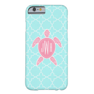 Monogrammed Pink Sea Turtle + Blue Quatrefoil Barely There iPhone 6 Case