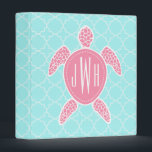 """Monogrammed Pink Sea Turtle   Blue Quatrefoil Binder<br><div class=""""desc"""">A gift featuring an illustration of a pink sea turtle.  Personalize with your monogram on sea turtle&#39;s back.  Background is light blue quatrefoil.</div>"""