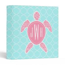Monogrammed Pink Sea Turtle   Blue Quatrefoil Binder
