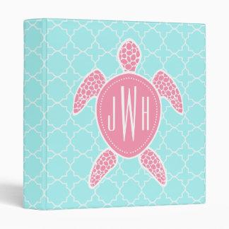 Monogrammed Pink Sea Turtle + Blue Quatrefoil Binder