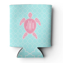 Monogrammed Pink Sea Turtle   Blue Quatrefoil Can Cooler