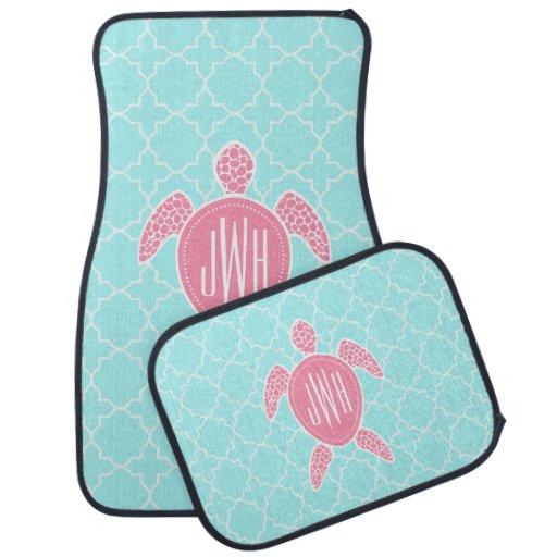 Monogrammed Pink Sea Turtle Blue Quatrefoil Car Mat Zazzle