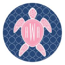 Monogrammed Pink Sea Turtle Blue Quatrefoil Classic Round Sticker