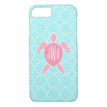Monogrammed Pink Sea Turtle   Blue Quatrefoil iPhone 7 Case