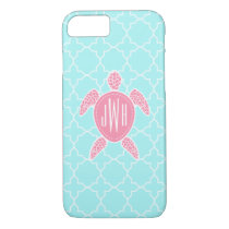 Monogrammed Pink Sea Turtle   Blue Quatrefoil iPhone 8/7 Case