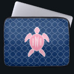 "Monogrammed Pink Sea Turtle Blue Quatrefoil Laptop Sleeve<br><div class=""desc"">A gift featuring an illustration of a pink sea turtle.  Personalize with your monogram on turtle&#39;s shell.  Background is navy blue quatrefoil pattern.</div>"