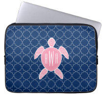 Monogrammed Pink Sea Turtle Blue Quatrefoil Laptop Sleeve