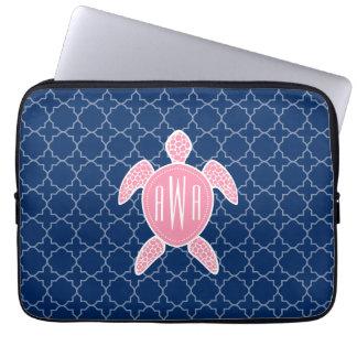 Monogrammed Pink Sea Turtle Blue Quatrefoil Laptop Sleeve