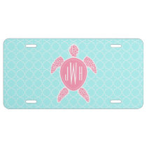 Monogrammed Pink Sea Turtle   Blue Quatrefoil License Plate
