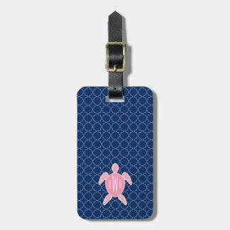 Monogrammed Pink Sea Turtle Blue Quatrefoil Luggage Tag