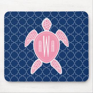 Monogrammed Pink Sea Turtle Blue Quatrefoil Mouse Pad