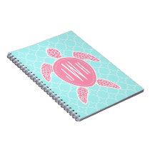 Monogrammed Pink Sea Turtle   Blue Quatrefoil Notebook