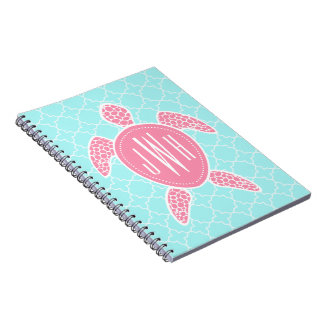 Monogrammed Pink Sea Turtle + Blue Quatrefoil Notebook