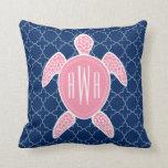 Monogrammed Pink Sea Turtle Blue Quatrefoil Pillow