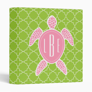 Monogrammed Pink Sea Turtle Green Quatrefoil Binder