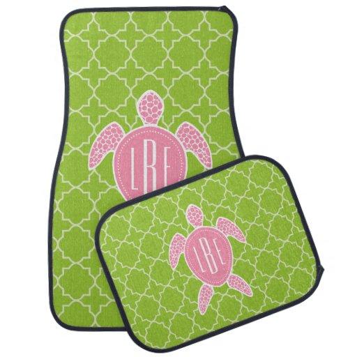 Monogrammed Pink Sea Turtle Green Quatrefoil Car Mat Zazzle