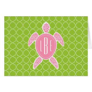 Monogrammed Pink Sea Turtle Green Quatrefoil Card