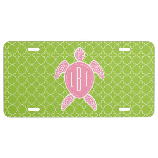 Monogrammed Pink Sea Turtle Green Quatrefoil License Plate