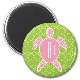Monogrammed Pink Sea Turtle Green Quatrefoil Magnet