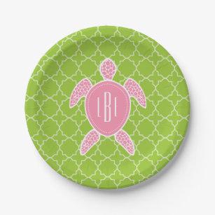 Monogrammed Pink Sea Turtle Green Quatrefoil Paper Plate  sc 1 st  Zazzle & Green Sea Turtle Plates | Zazzle