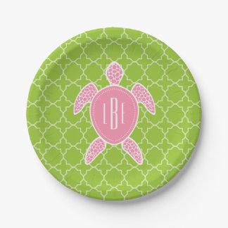 Monogrammed Pink Sea Turtle Green Quatrefoil Paper Plate