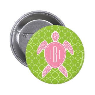 Monogrammed Pink Sea Turtle Green Quatrefoil Pinback Button