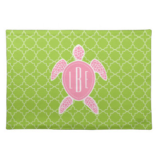 Monogrammed Pink Sea Turtle Green Quatrefoil Cloth Placemat