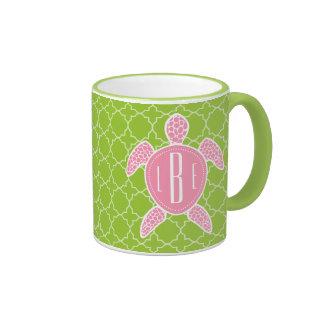 Monogrammed Pink Sea Turtle Green Quatrefoil Ringer Mug