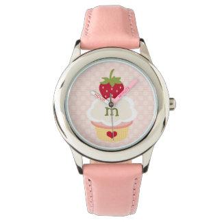 Monogrammed Pink Strawberry Cupcake Watches