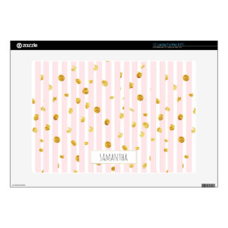 Monogrammed Pink Stripes Gold Spots Laptop Skin