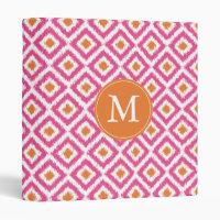 Monogrammed Pink Tangerine Diamond Ikat Pattern Vinyl Binder