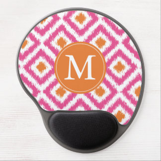 Monogrammed Pink Tangerine Diamond Ikat Pattern Gel Mouse Mats