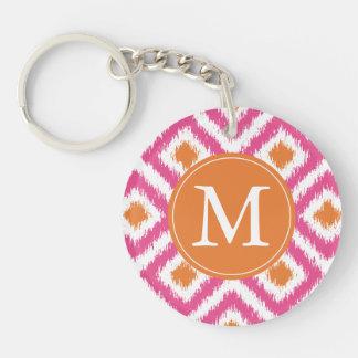Monogrammed Pink Tangerine Diamond Ikat Pattern Single-Sided Round Acrylic Keychain