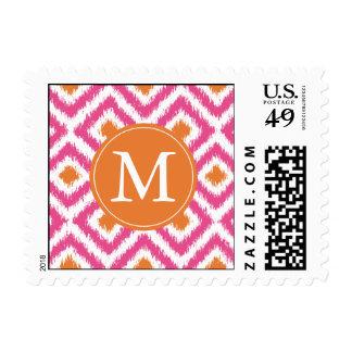 Monogrammed Pink Tangerine Diamonds Ikat Pattern Stamp