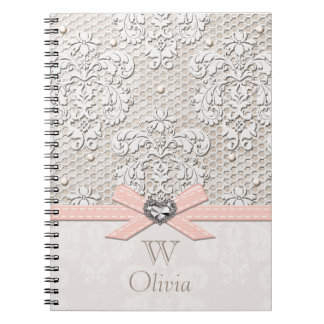 Monogrammed Pink Vintage Lace and Pearls Notebook
