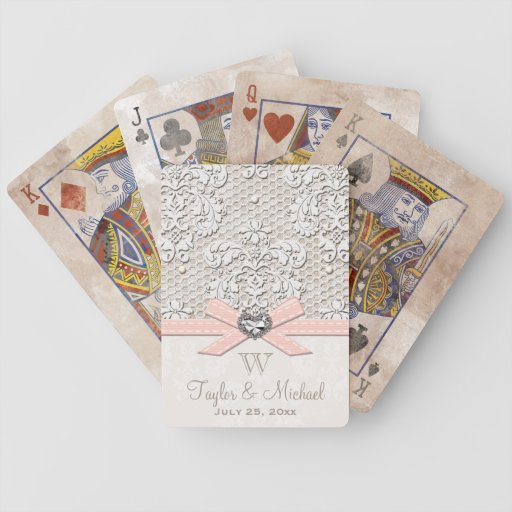 Monogrammed Pink Vintage Lace and Pearls Wedding Bicycle Playing Cards