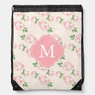 Monogrammed Pink Vintage Roses Pattern Drawstring Backpack