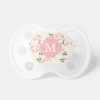 Monogrammed Pink Vintage Roses Pattern Pacifier
