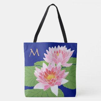 Monogrammed Pink Water Lilies on Blue Tote Bag