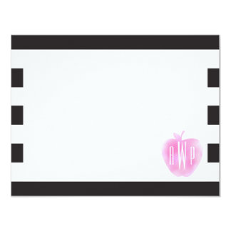 Monogrammed Pink Watercolor Apple + Stripes Card