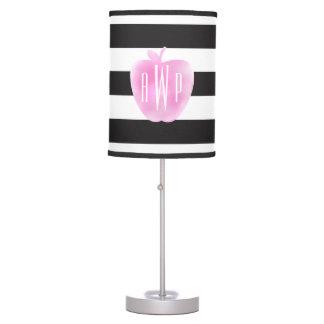 Monogrammed Pink Watercolor Apple + Stripes Desk Lamp