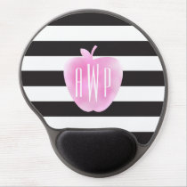 Monogrammed Pink Watercolor Apple   Stripes Gel Mouse Pad