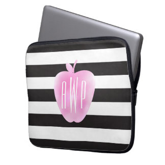 Monogrammed Pink Watercolor Apple + Stripes Laptop Computer Sleeves