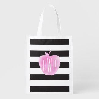 Monogrammed Pink Watercolor Apple + Stripes Reusable Grocery Bag