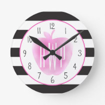 Monogrammed Pink Watercolor Apple   Stripes Round Clock