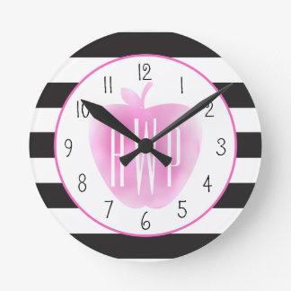 Monogrammed Pink Watercolor Apple + Stripes Round Clock