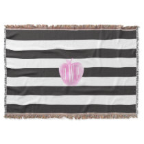 Monogrammed Pink Watercolor Apple   Stripes Throw