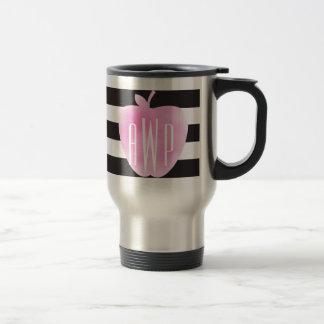 Monogrammed Pink Watercolor Apple + Stripes Travel Mug